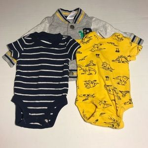 Carters navy and yellow dinosaur outfit newborn